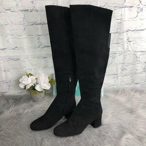 Halogen OTK Suede Black Heeled Boots Sz9 Side Zip